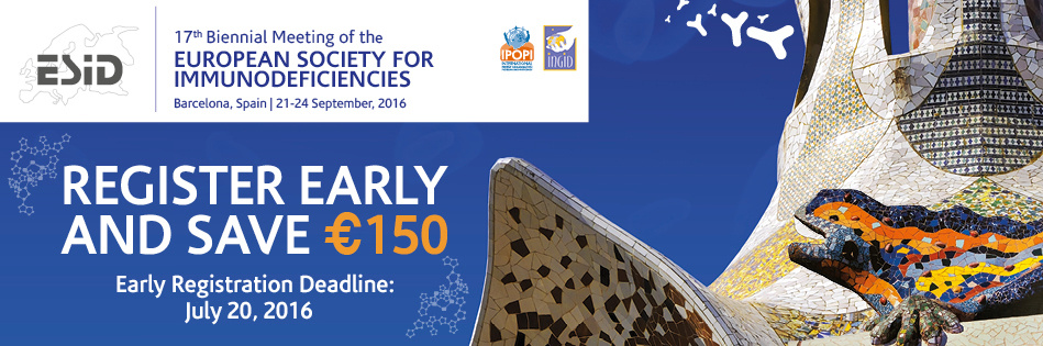 ESID 2016 Register Early and Save! New deadline